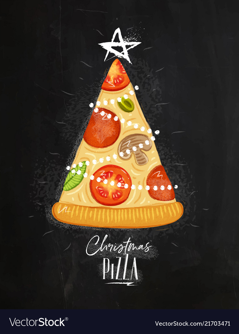 Poster christmas tree pizza chalk