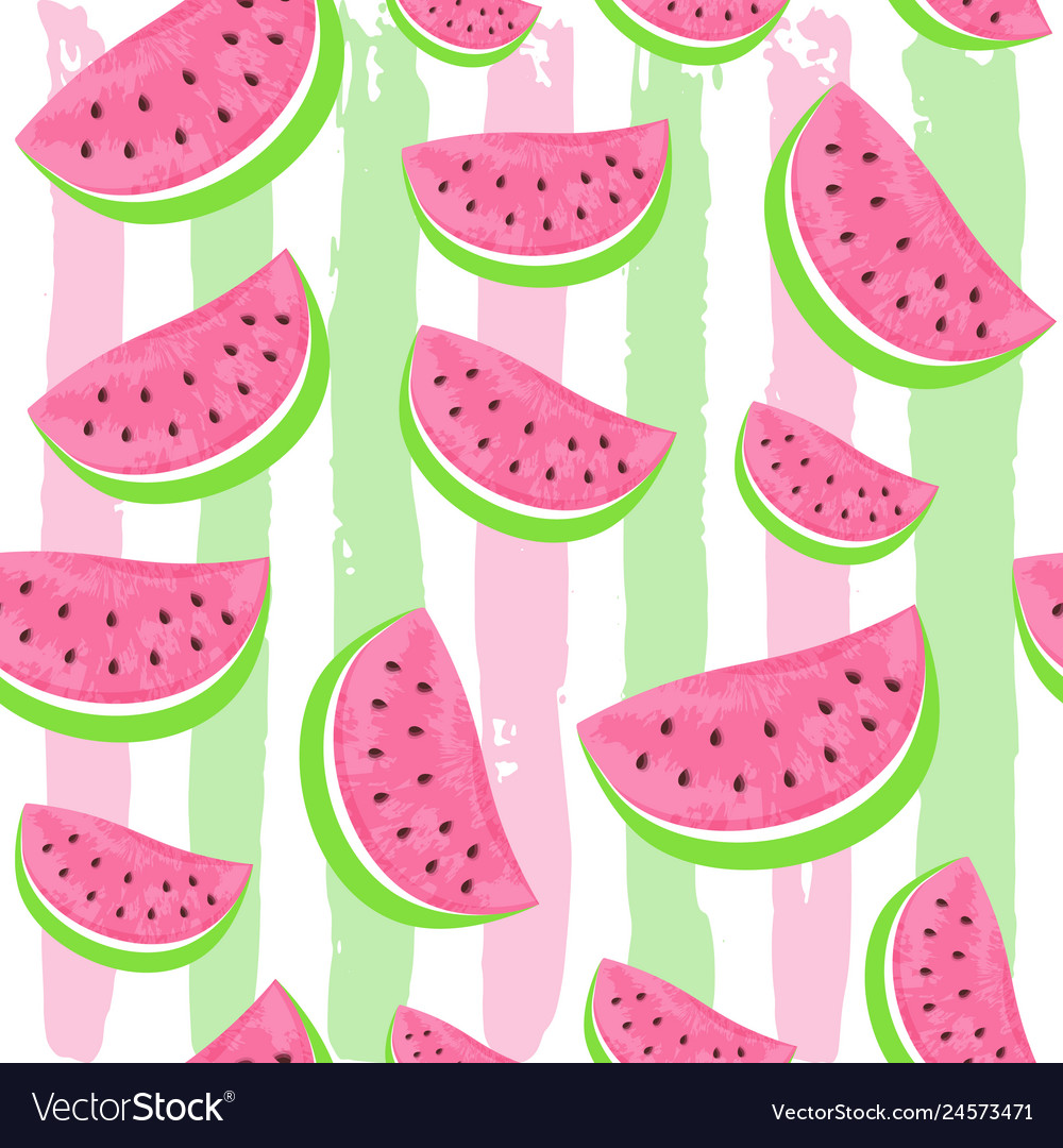 Seamless watermelon pattern isolated on hand drawn