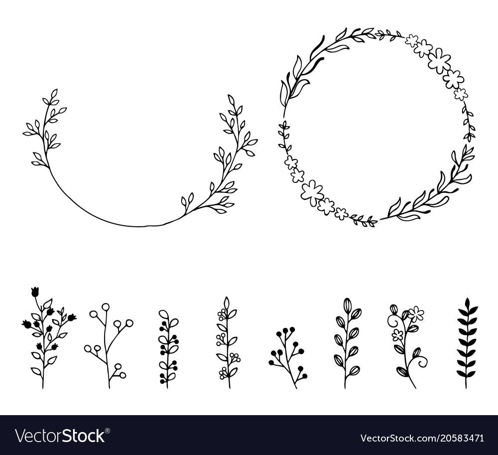 Set of doodle hand drawn design elements wreath