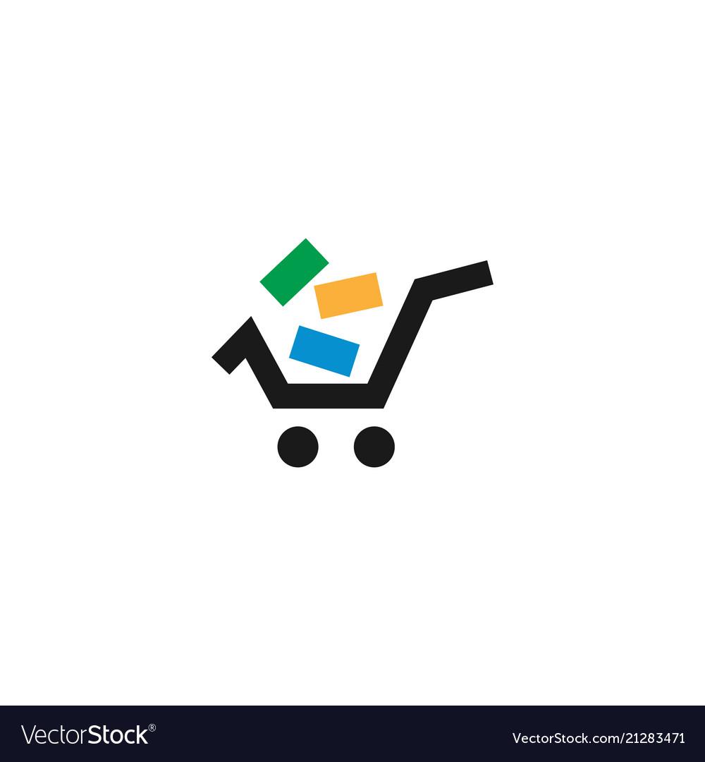 Shopping cart retail logo design template