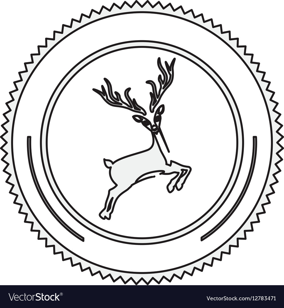 Silhouette circular border with reindeer vector image