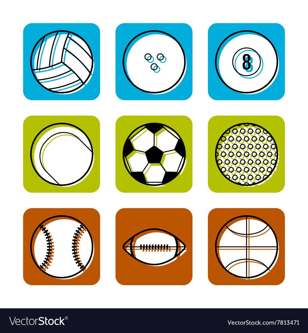 Sport balls on color background flat icons vector image