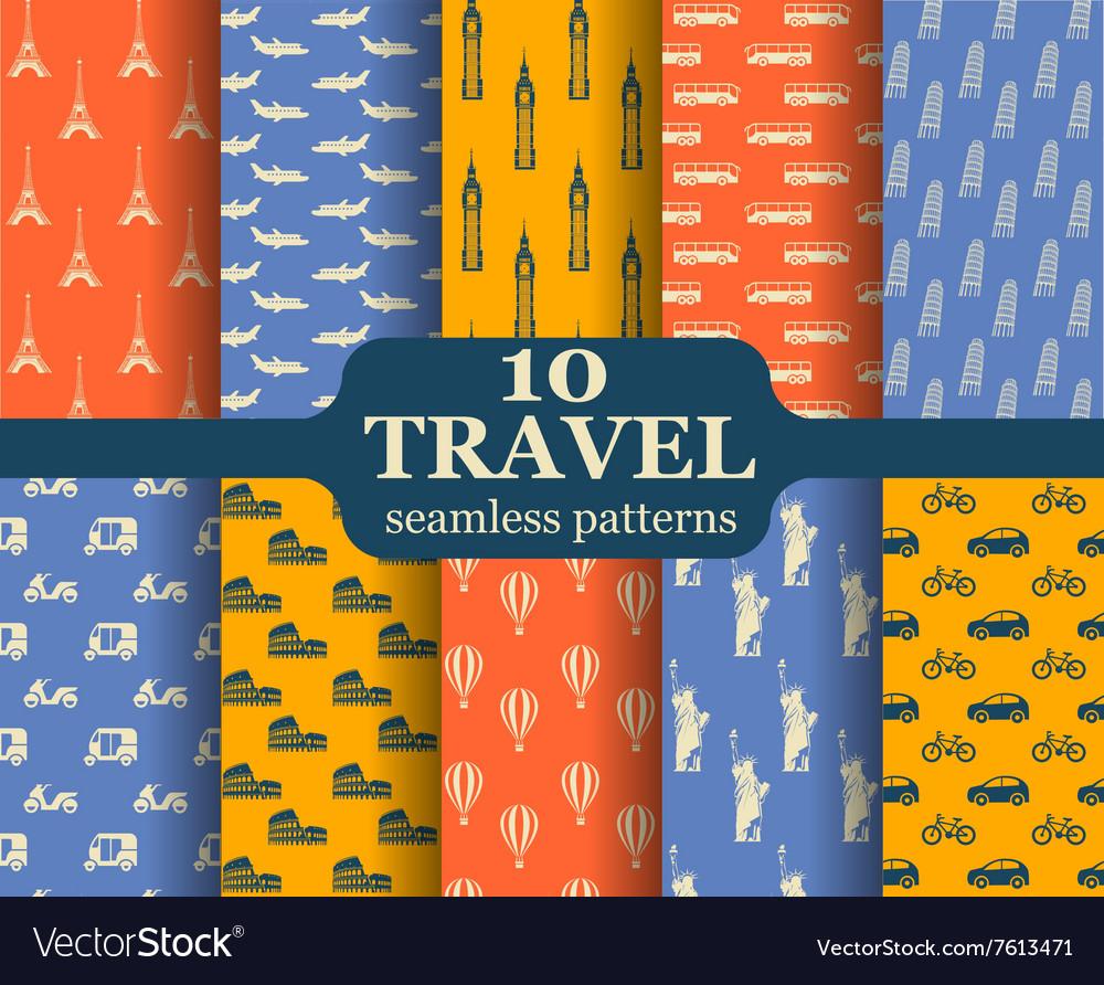 Ten travel seamless patterns