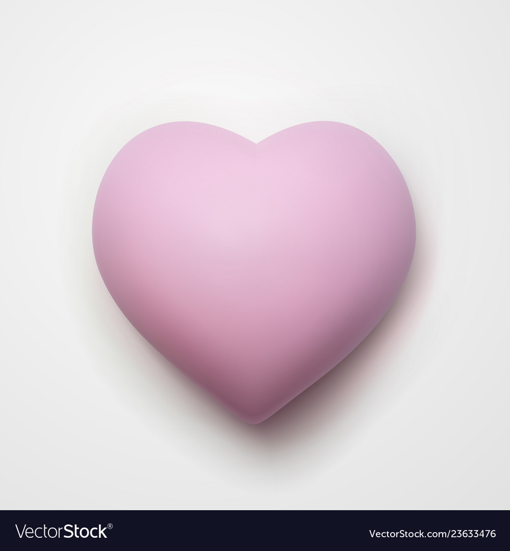 3d cartoon pink heart isolated on white background