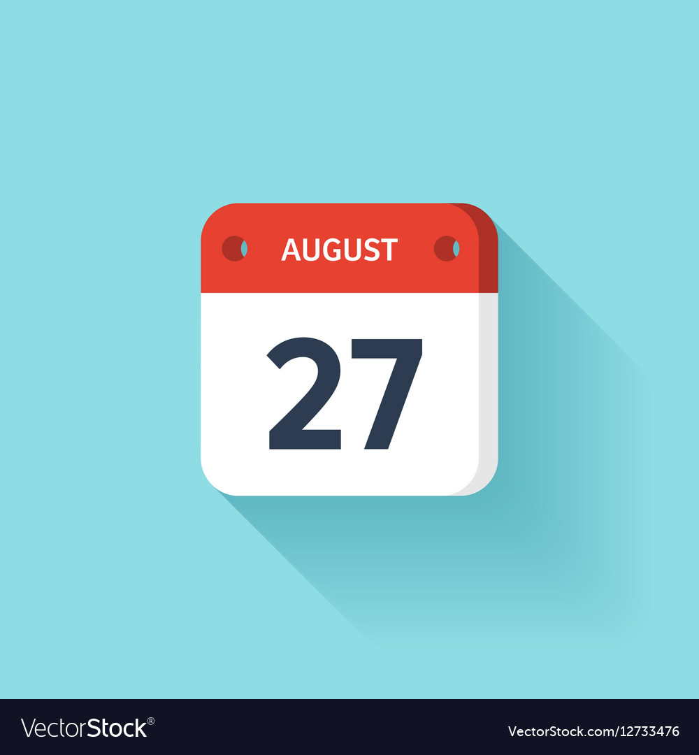 August 27 Isometric Calendar Icon With Shadow vector image