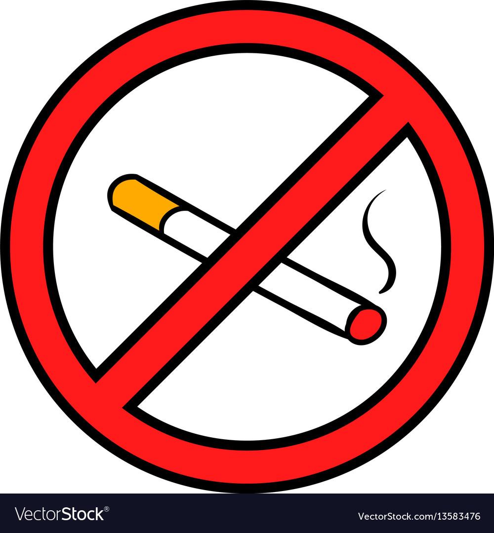 Badge no smoking icon cartoon