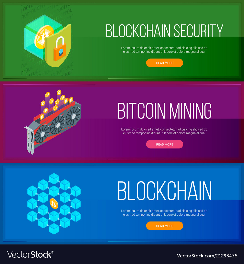 Blockchain and cryptocurrency banners set