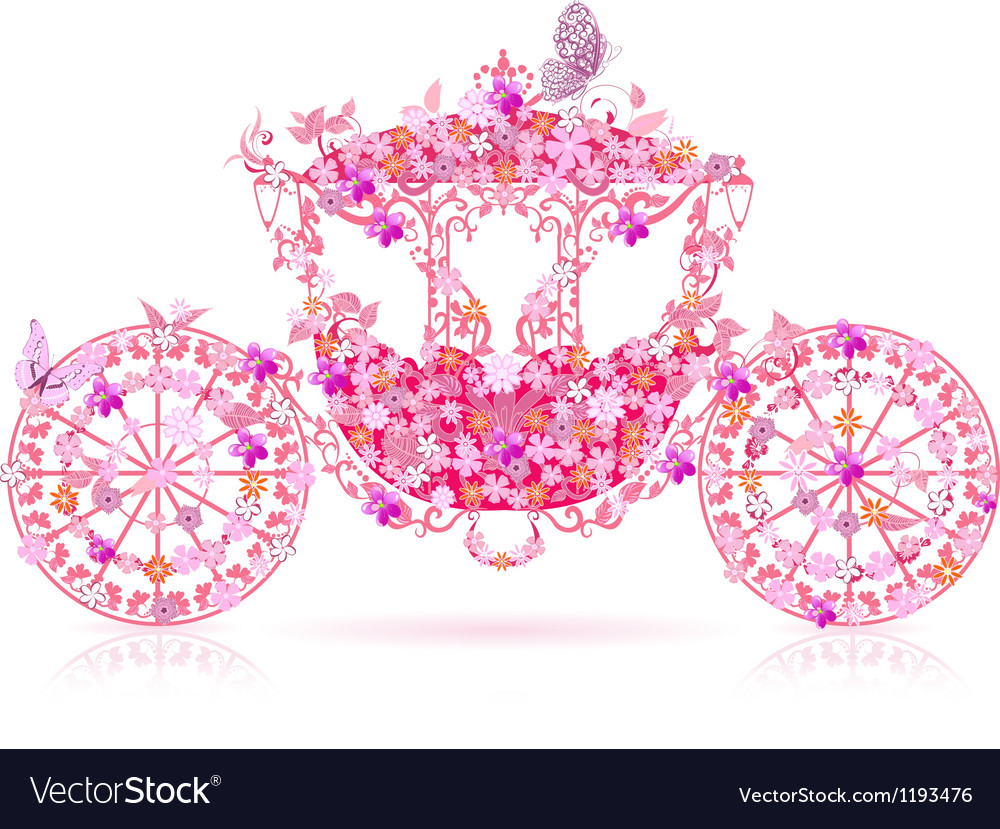 Carriage floral pink vector image