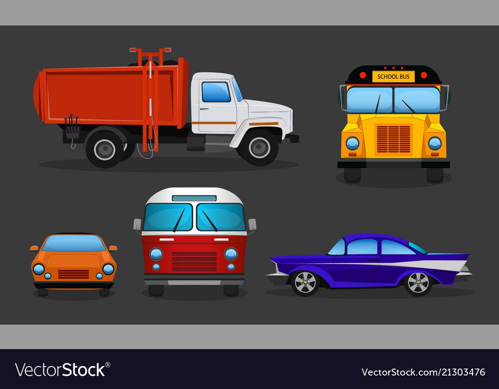 Cartoon cars - school bus garbage truck