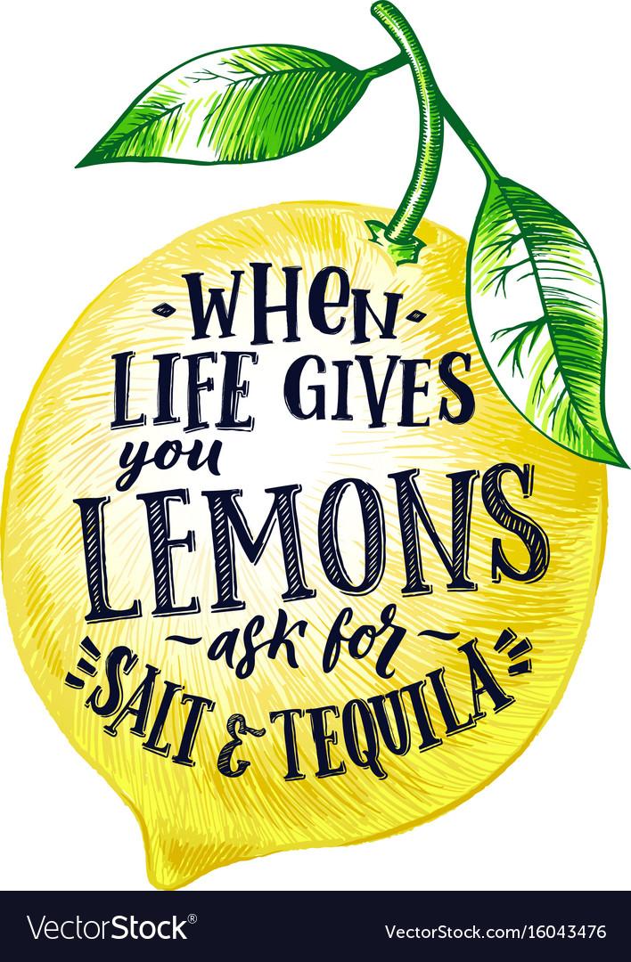 Fresh lemon with hand writing phrase fruits