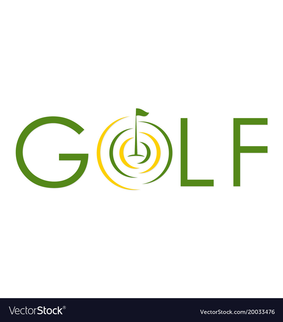 Golf text symbol flag logo