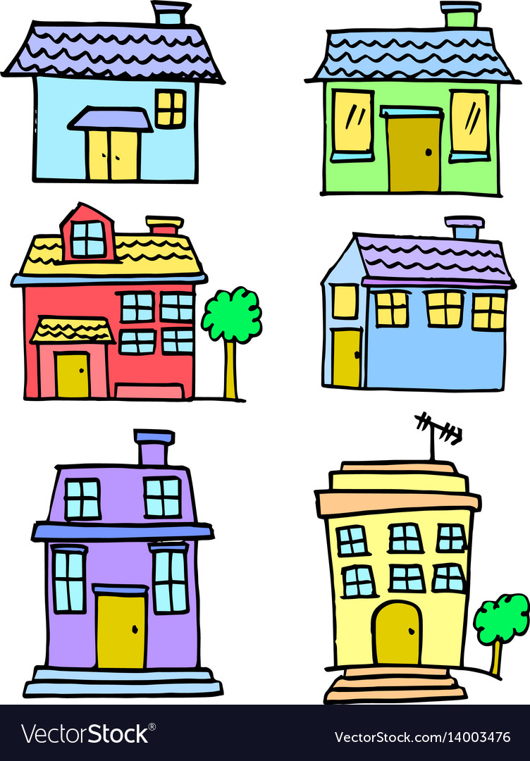 Hand draw of house set colorful vector image