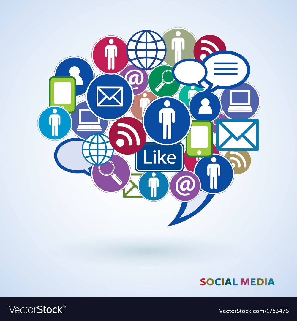 Icons of social media vector image