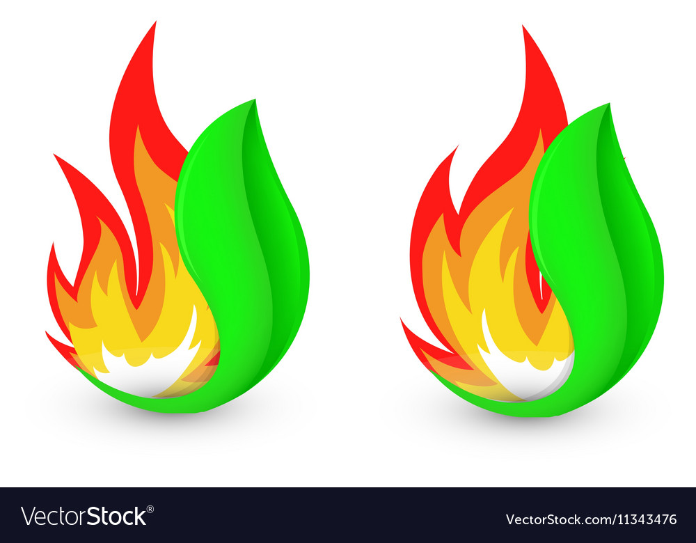 Isolated abstract fire logo Flame in leaf