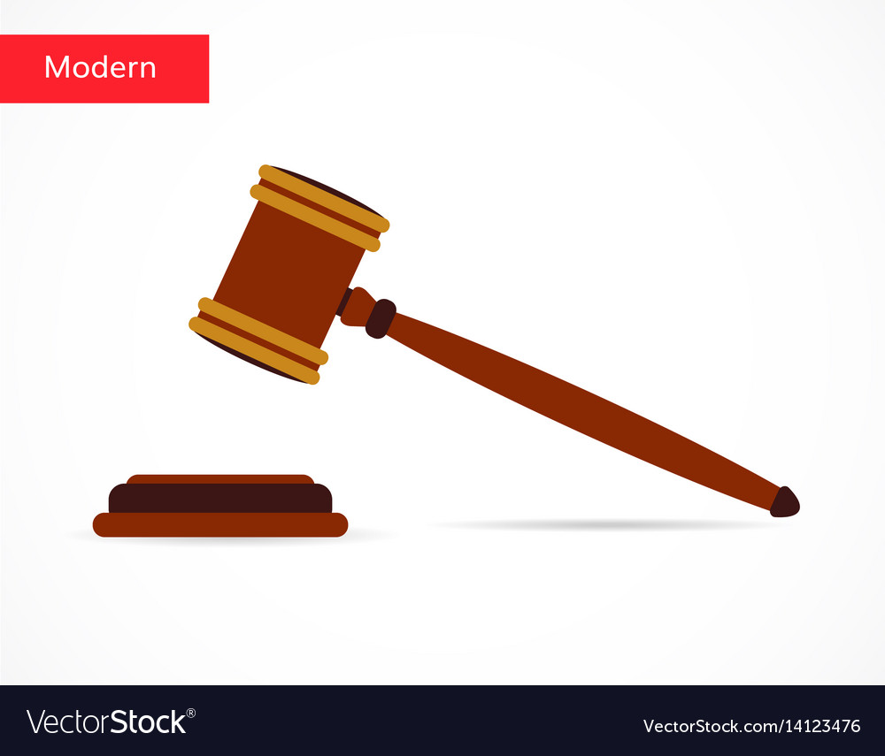 Justice gavel auction icon flat style design