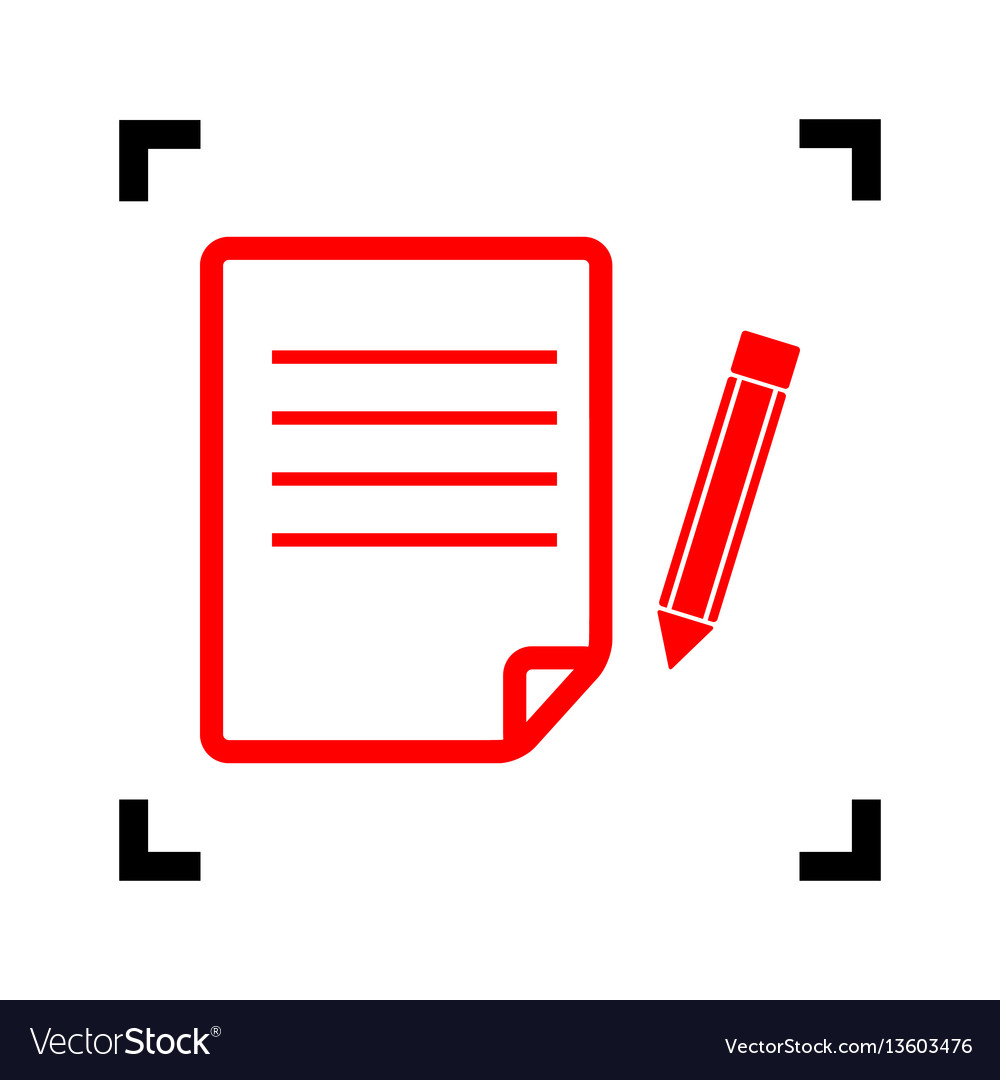 Paper and pencil sign red icon inside vector image