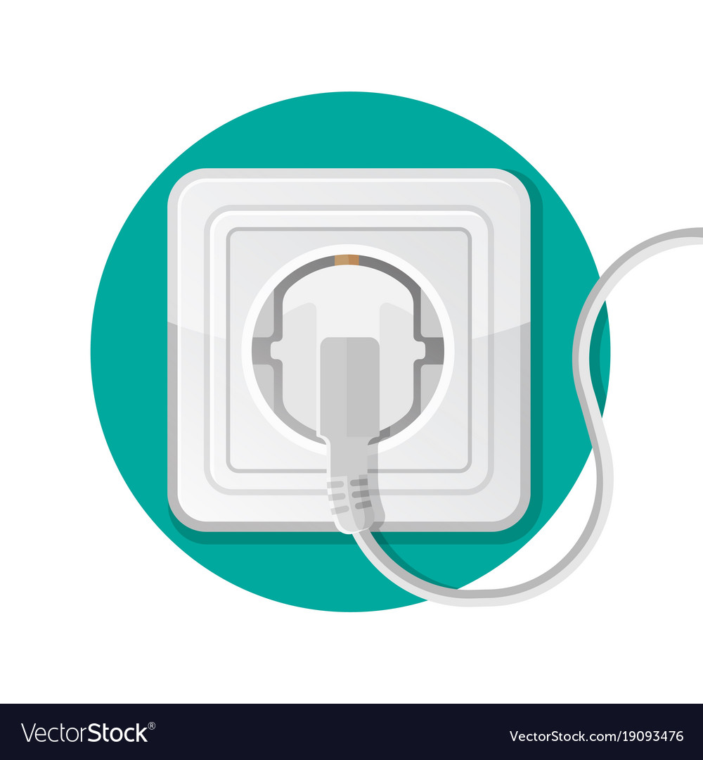Power socket with plug icon electrically operated vector image