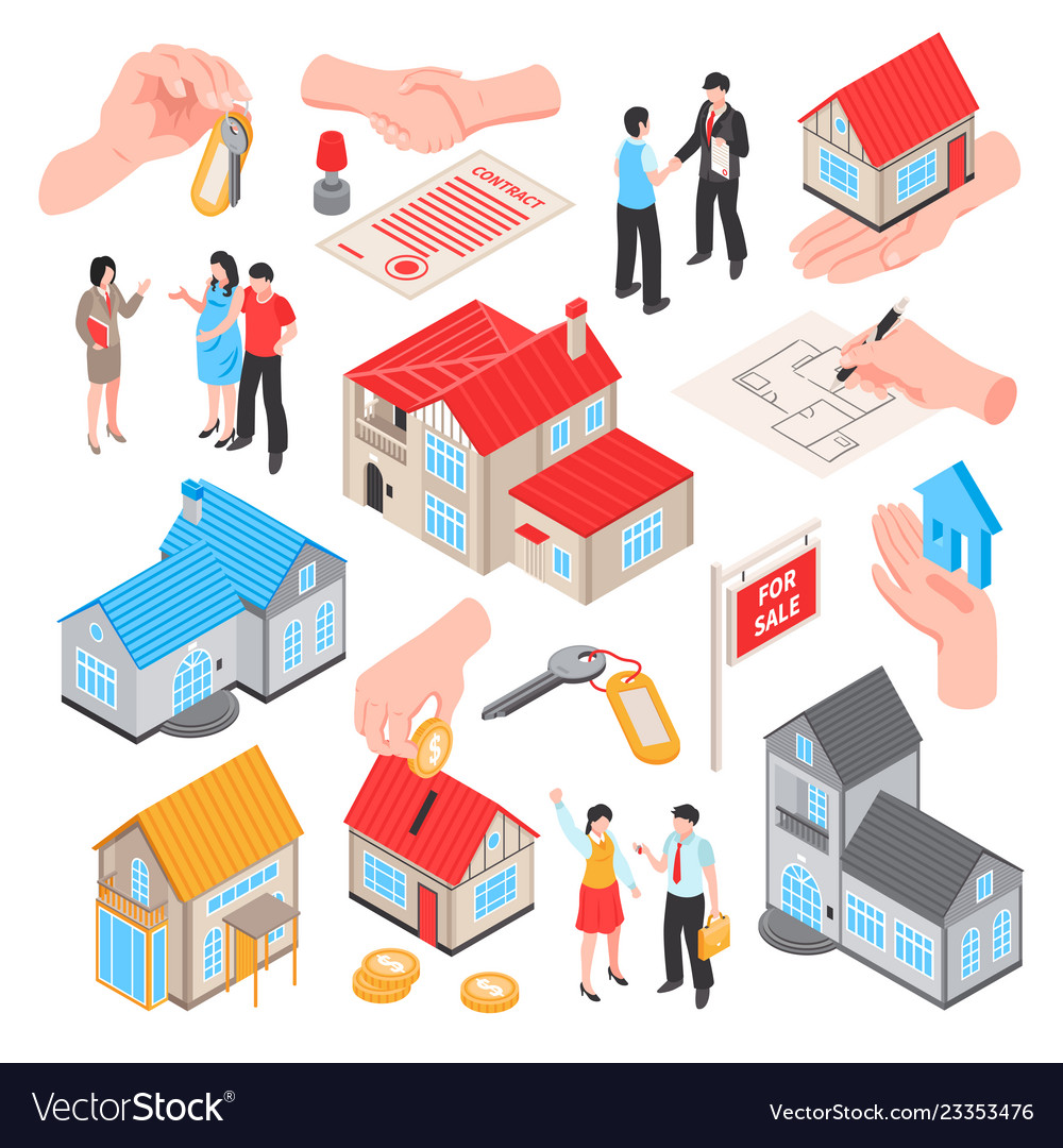 Real estate isometric set