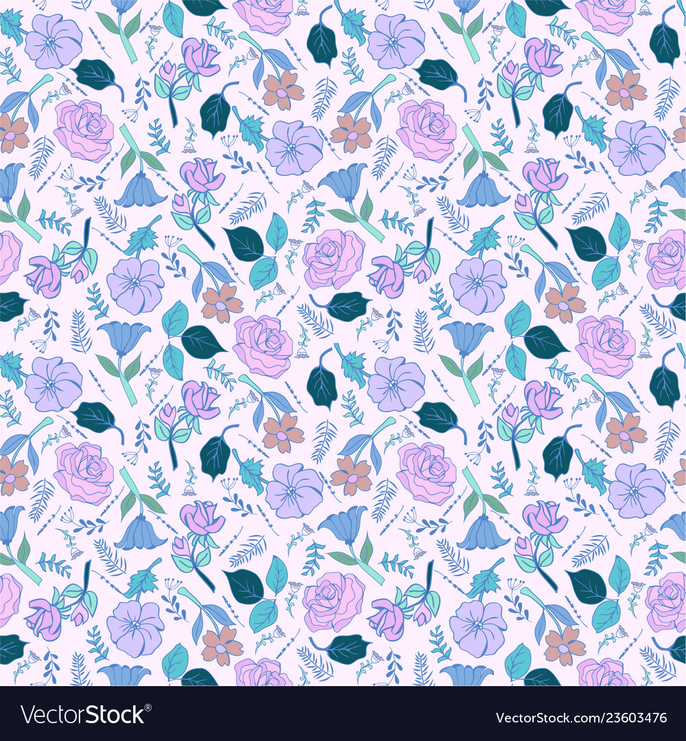 Romantic hand drawn background with flowers