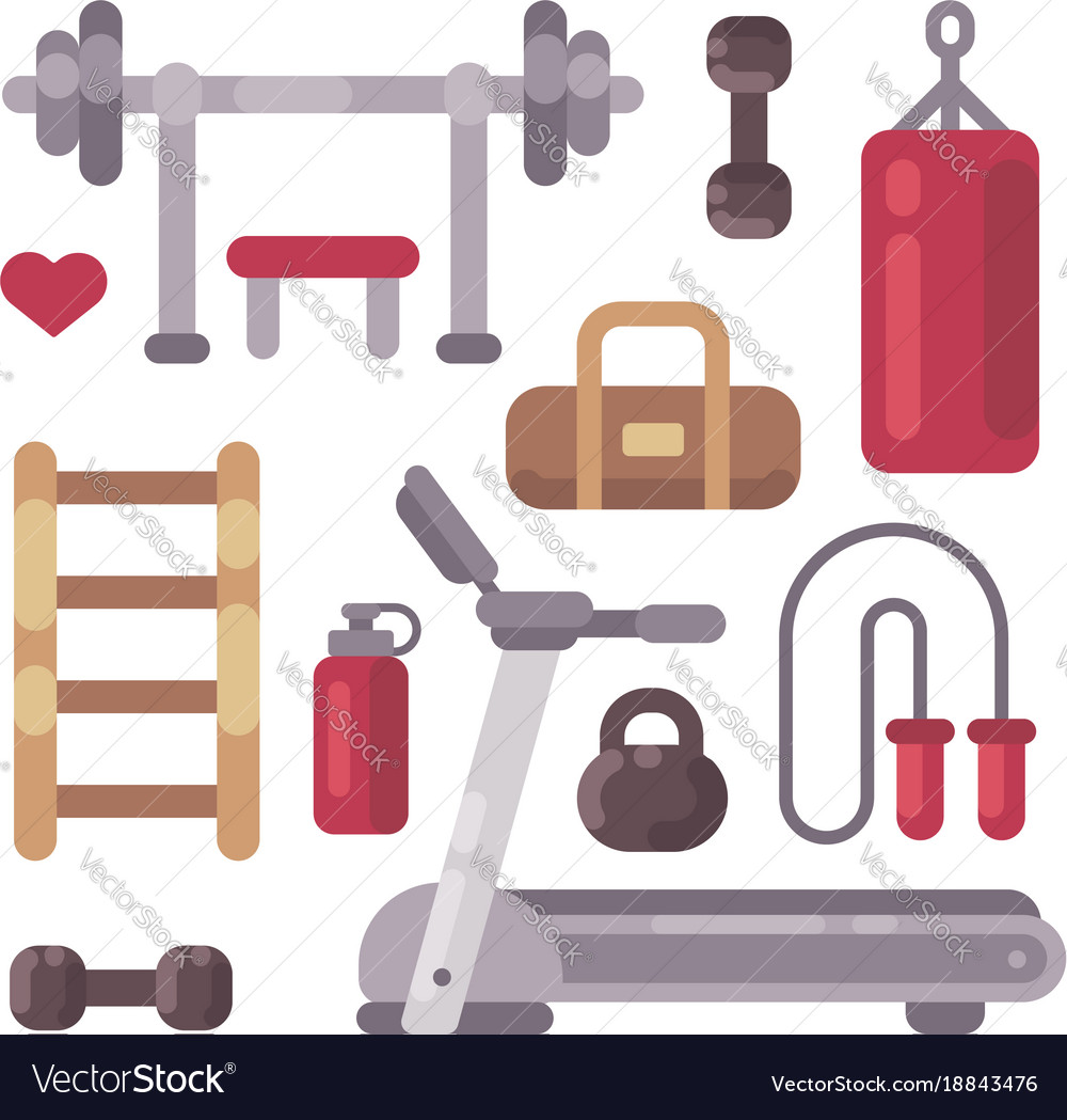 Set of gym equipment sport and fitness icons