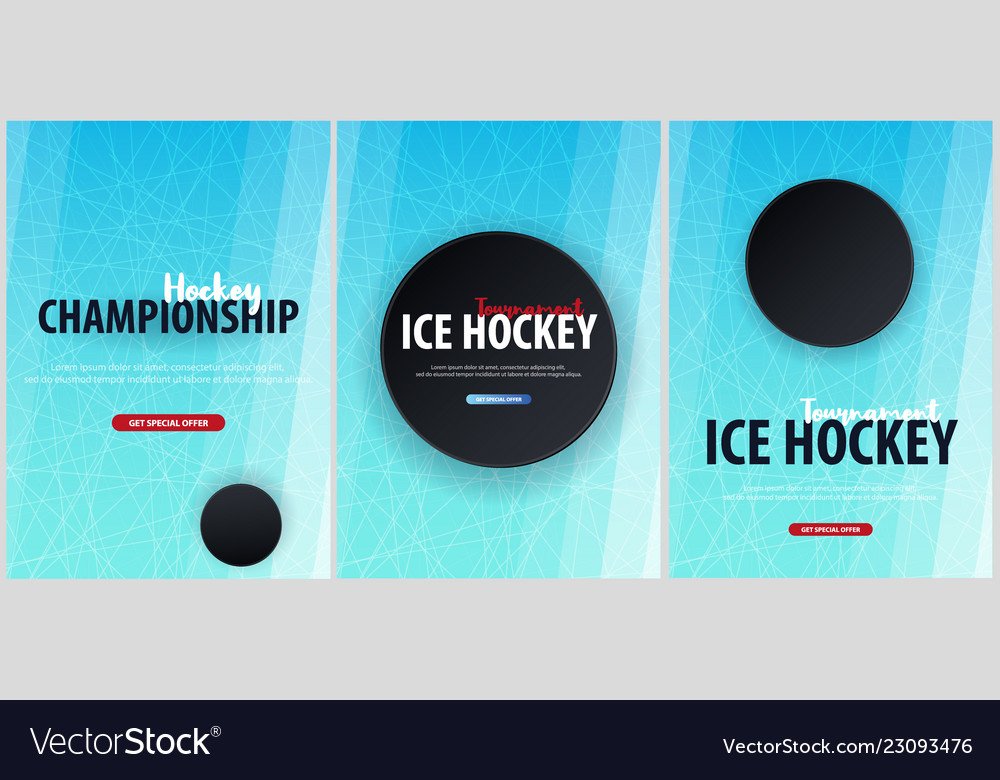set of hockey backgrounds with puck and doodle vector