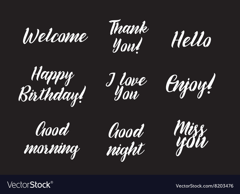 Set positive inscriptions and phrases greeting vector