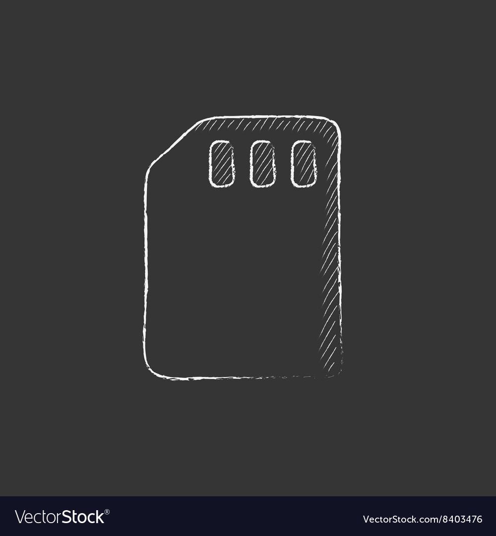 Sim card Drawn in chalk icon