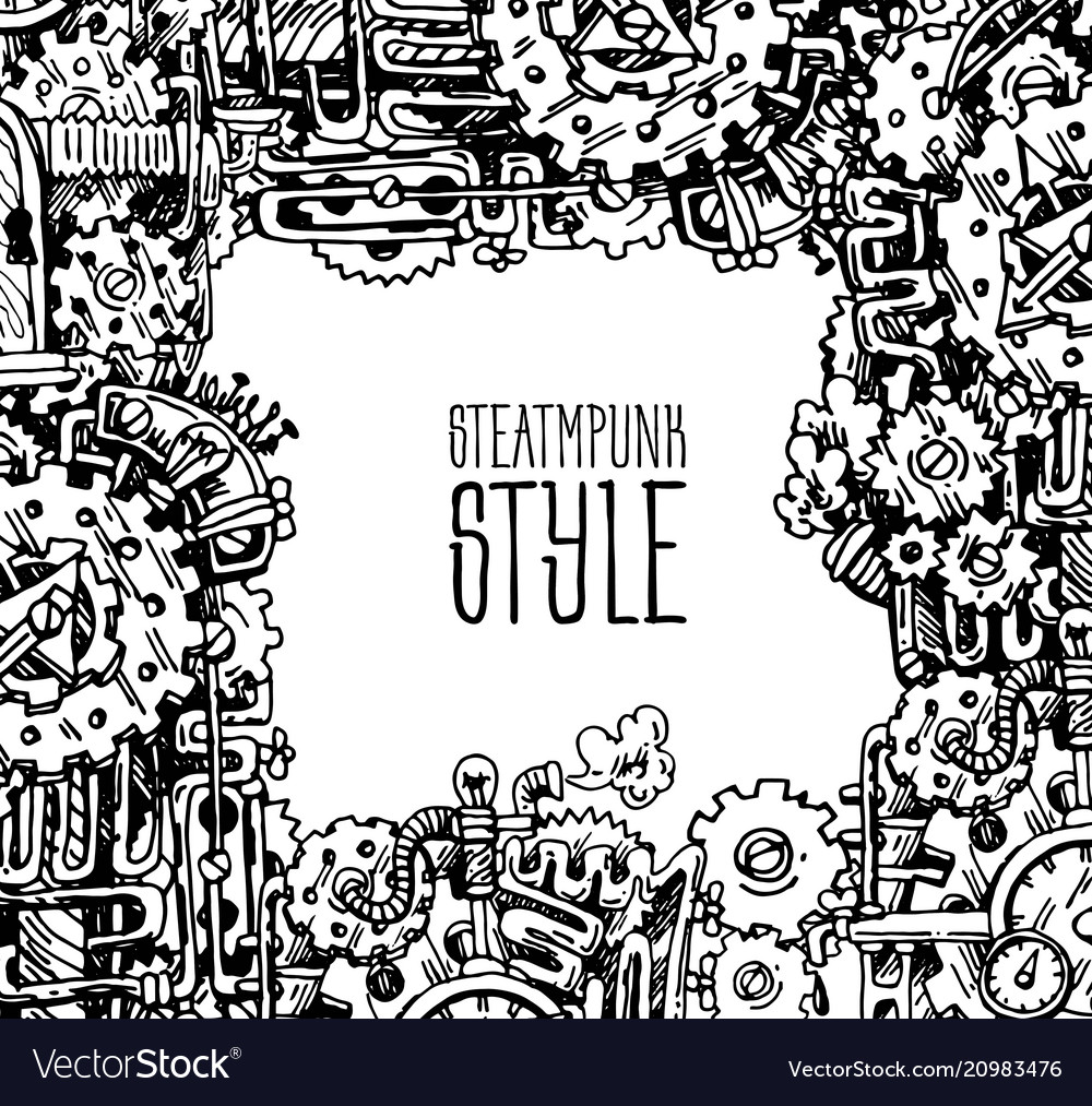 Steampunk style frame Royalty Free Vector Image