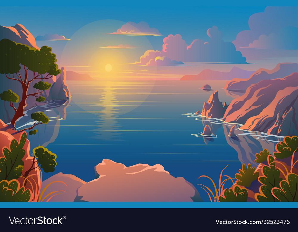 Summer nature beautiful landscape sunrise over