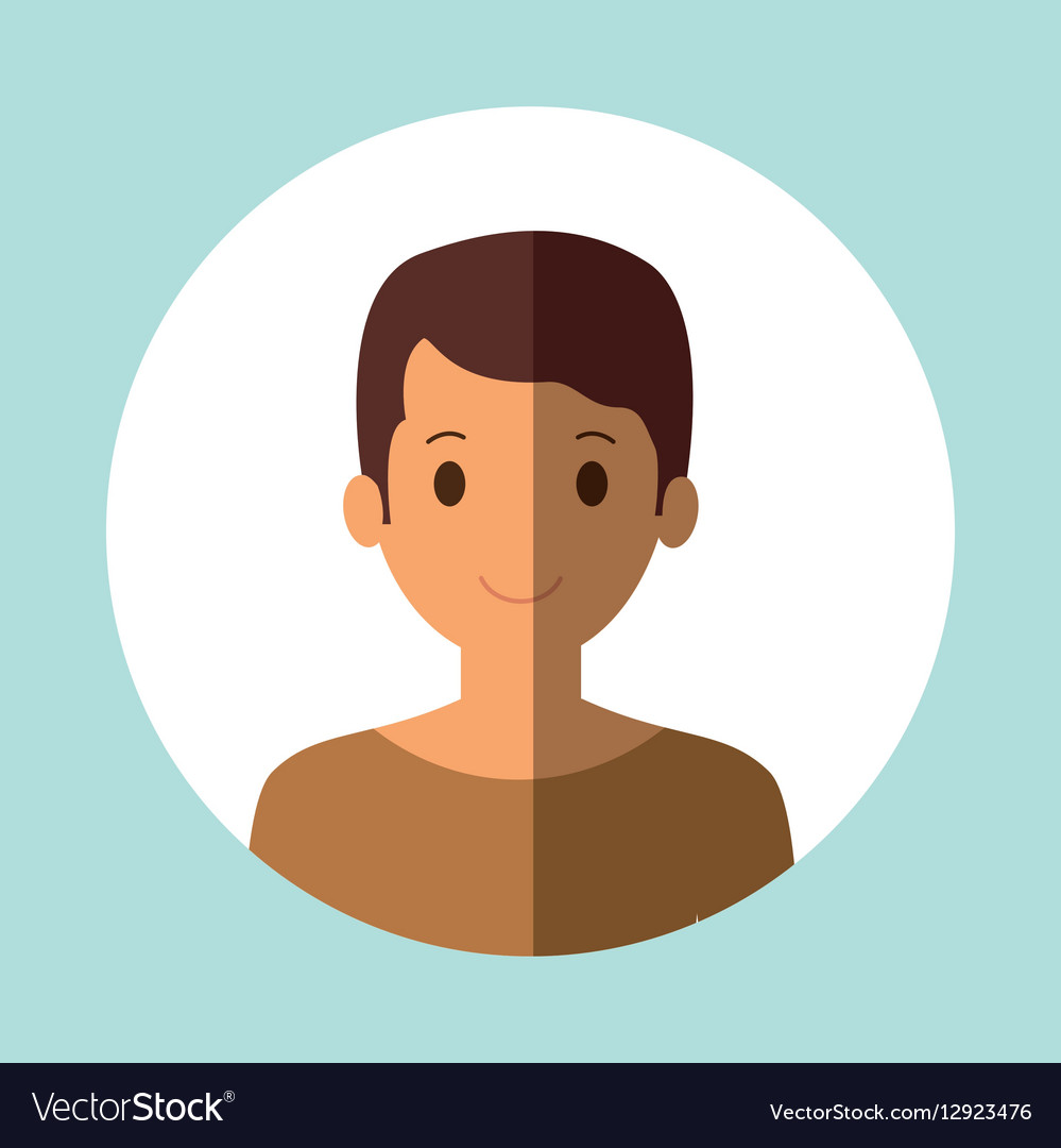 Youg man portrait with rounded colored frame icon vector image