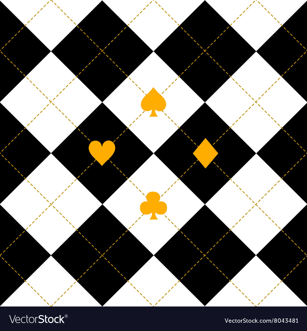 Card Suits Black Royal White Diamond Background vector image