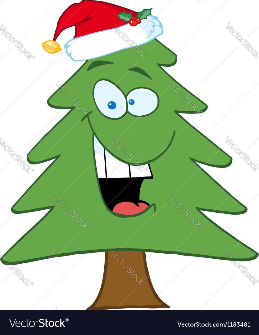 Cartoon Christmas Tree With Santa Hat