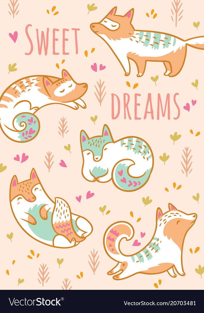 Cartoon foxes or cats with text sweet dreams
