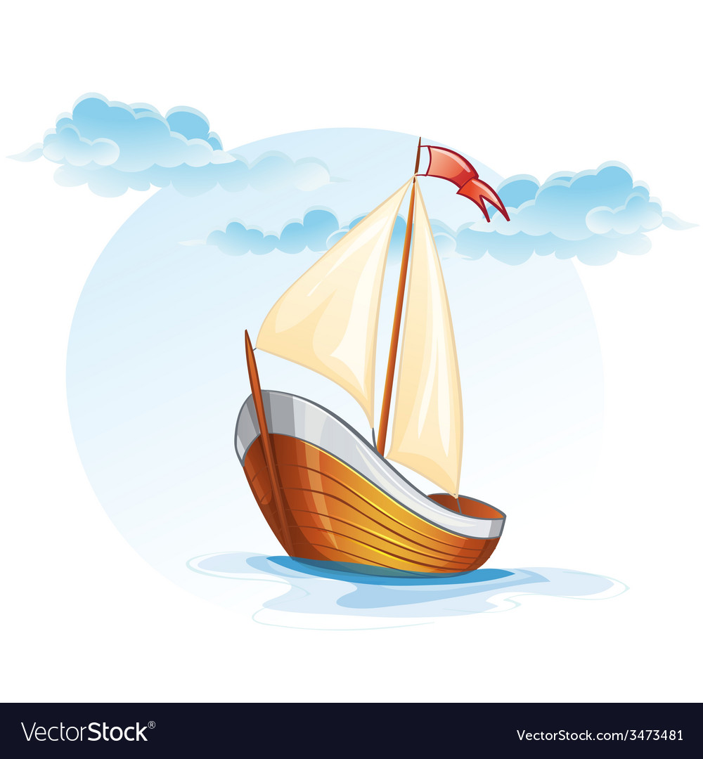 Cartoon image of a wooden sailing boat Royalty Free Vector