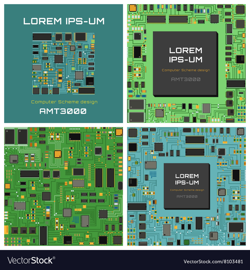 Computer chip electronic circuit board with vector image