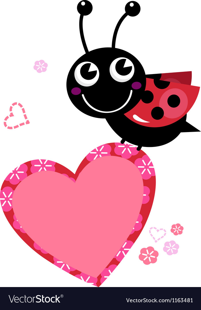 Cute flying ladybug with heart isolated on white vector image stopboris Images