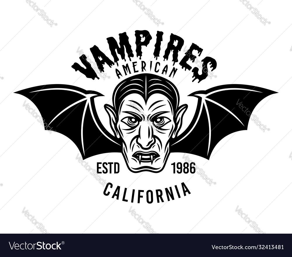 Dracula head with bat wings emblem or print
