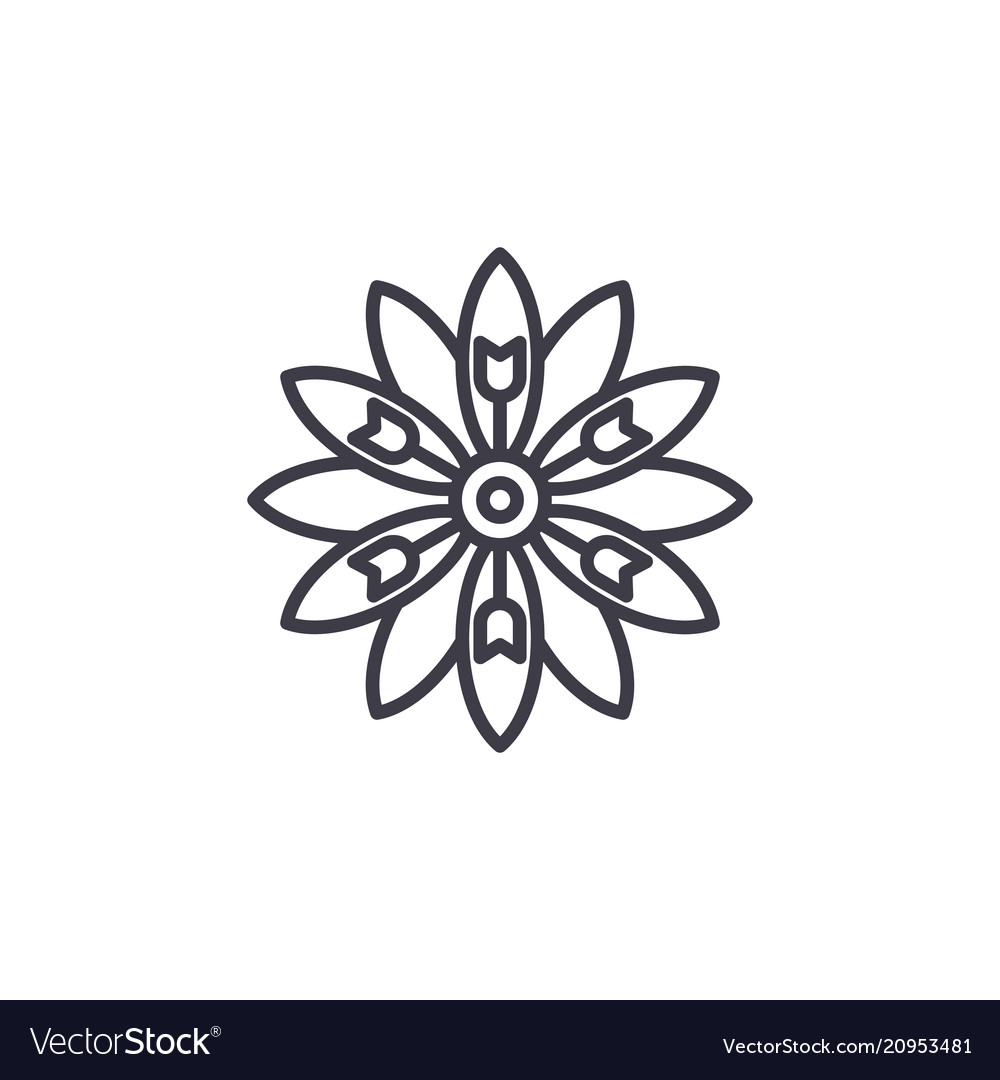 Floral aster line icon concept floral aster flat