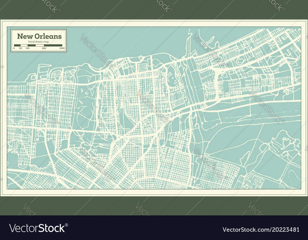 New Orleans In Usa Map.New Orleans Louisiana Usa City Map In Retro Style Vector Image