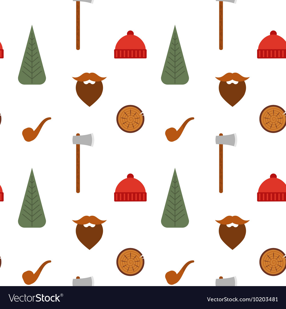 Seamless pattern with lumberjack icons mustache