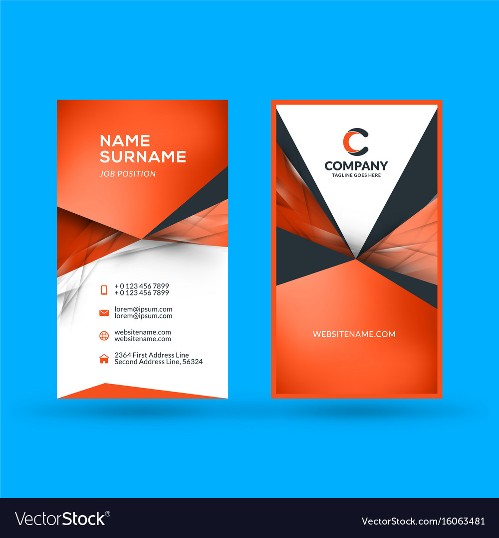 Vertical Double Sided Business Card Template Vector Image