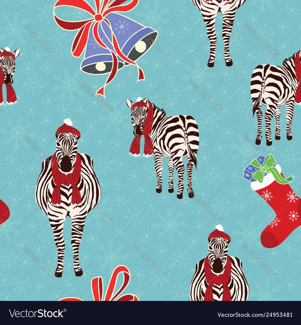 Zebra gift sock bells seamless christmas