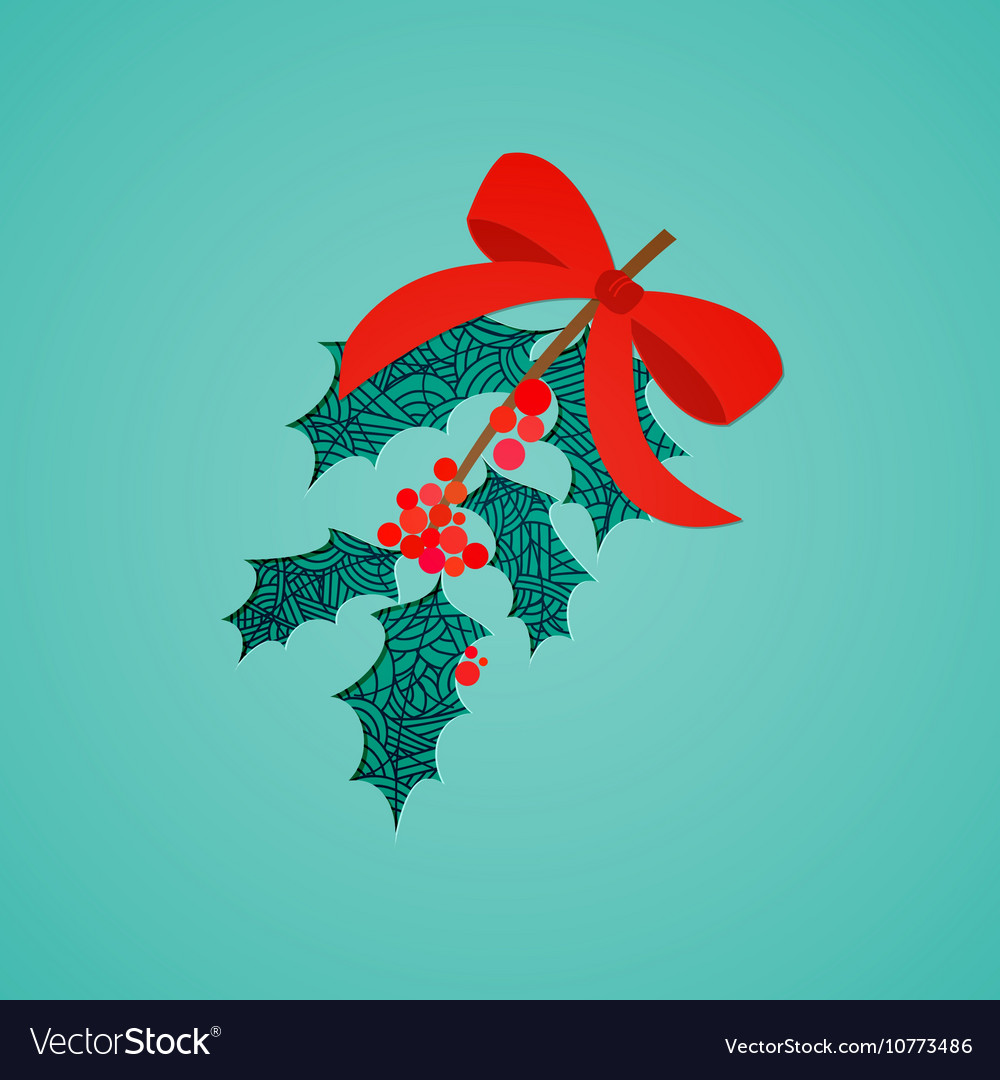 Abstract mistletoe with red bow Christmas