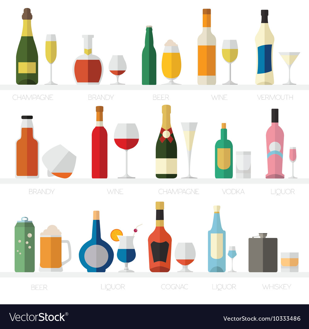 Alcohol glasses and bottles flat icon set
