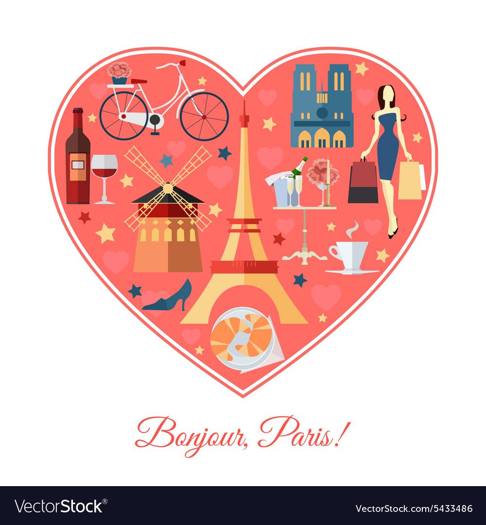 Bonjour Paris France travel background with