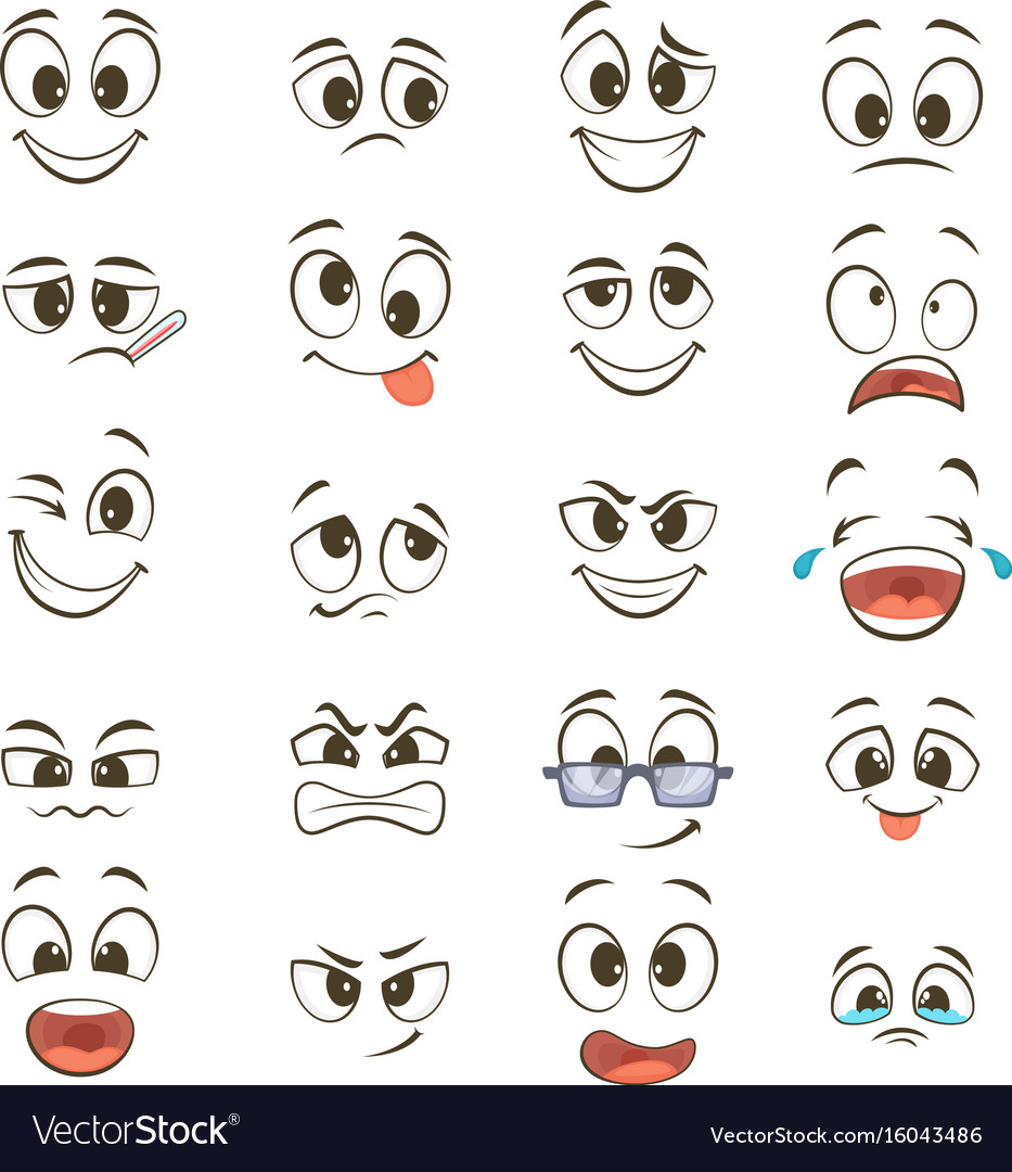 Cartoon happy faces with different expressions Vector Image