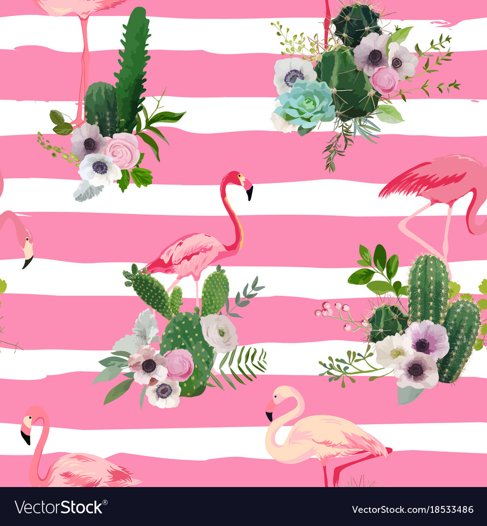 Flamingo bird and tropical cactus seamless pattern vector image