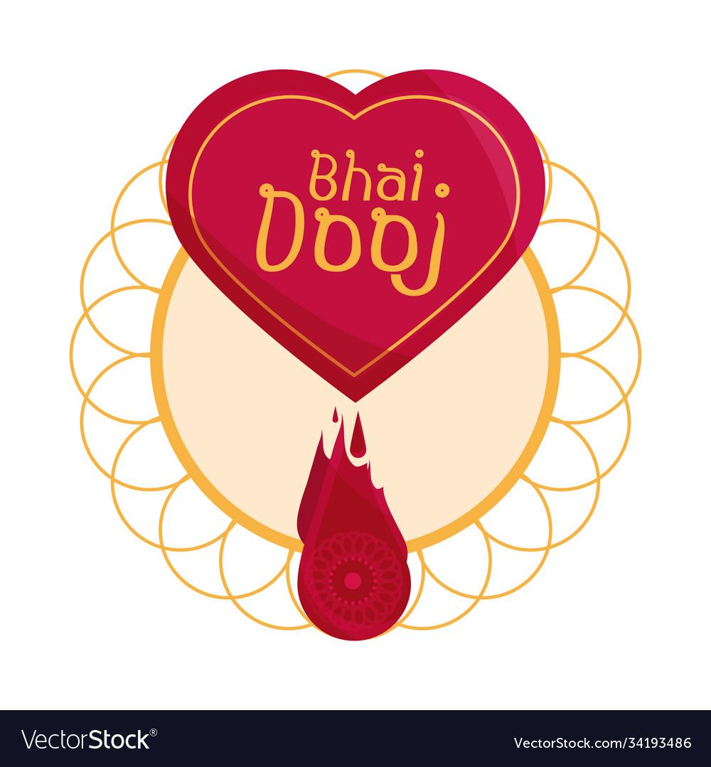 Happy bhai dooj heart mandala decoration