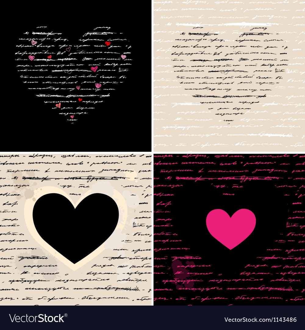 Heart set Love background vector image