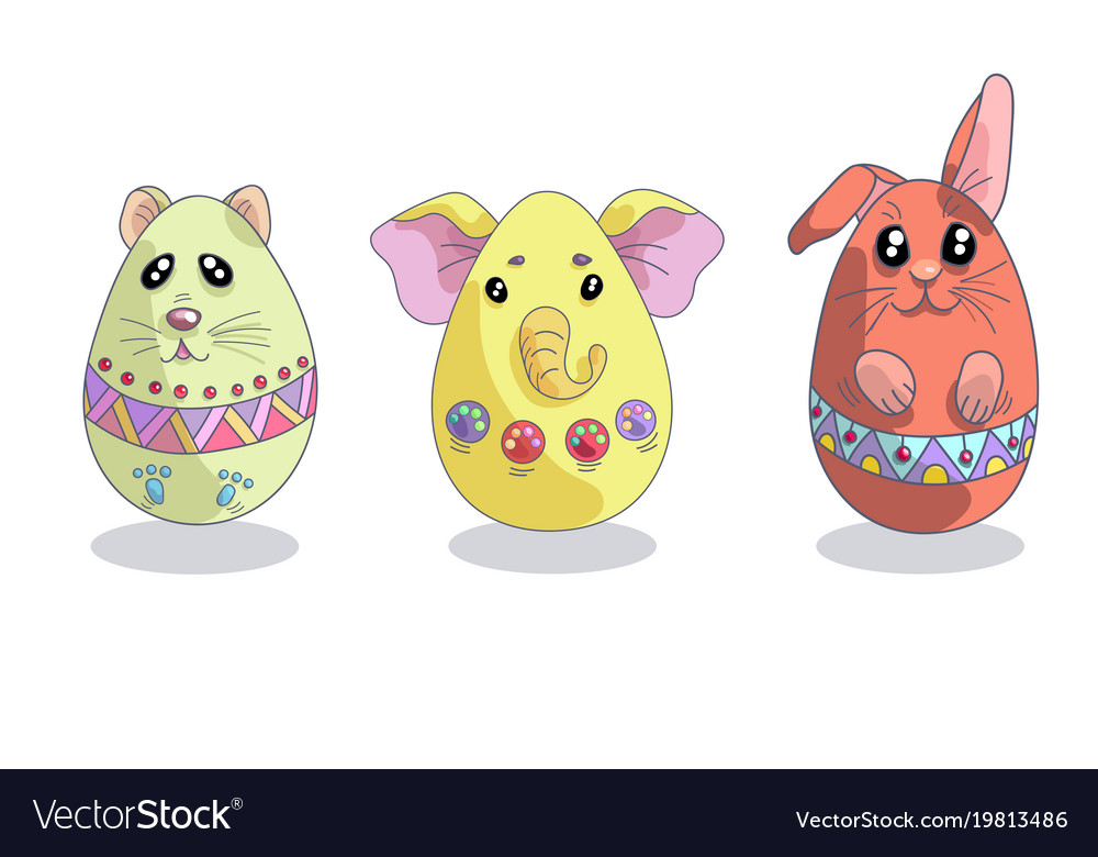 Set with 3 cute easter eggs in a shapes of animals